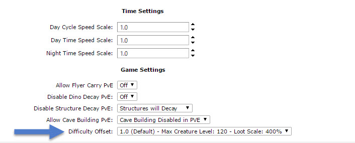 Changing the Difficulty Offset, Max Creature Level, and Loot